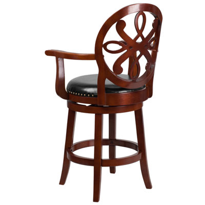 26'' High Wood Counter Height Stool with Arms and Leather Swivel Seat