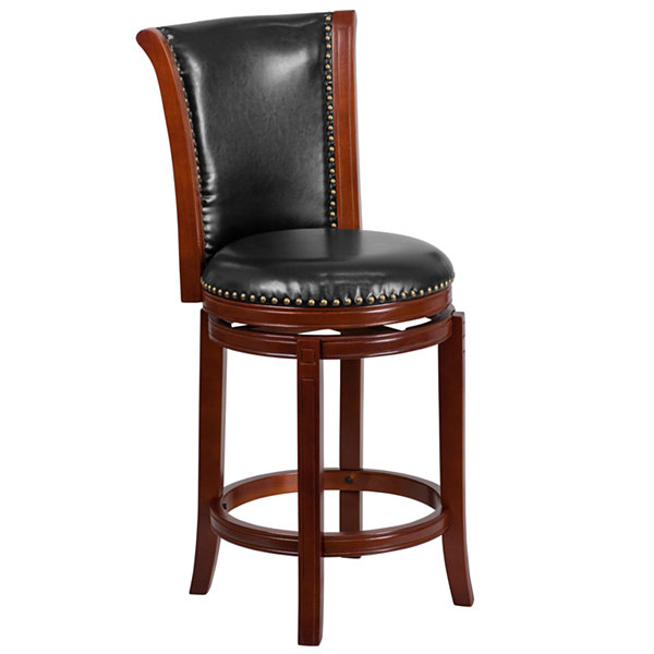 26IN Wood Counter Height Stool with Faux-Leather Swivel Seat
