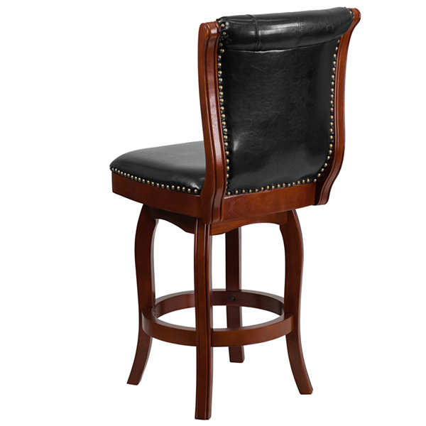26IN Wood Counter Height Stool with Tufted Faux-Leather Swivel Seat