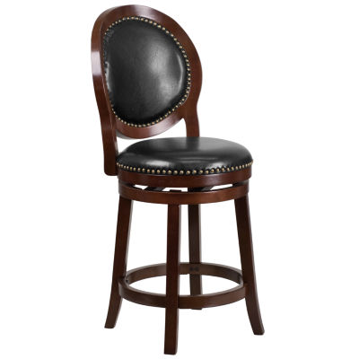 26'' High Counter Height Wood Barstool with Leather Swivel Seat