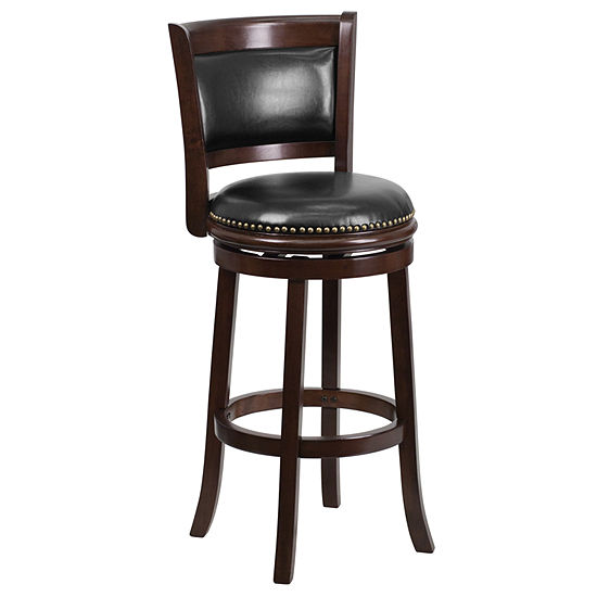 29'' High Wood Barstool with Leather Swivel Seat