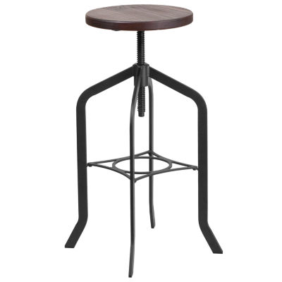 30IN Backless Barstool with Swivel Lift Wood Seat