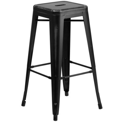30'' High Backless Distressed Metal Indoor/Outdoor Barstool