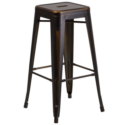 30IN Backless Distressed Copper Metal Indoor/Outdoor Backless Barstool