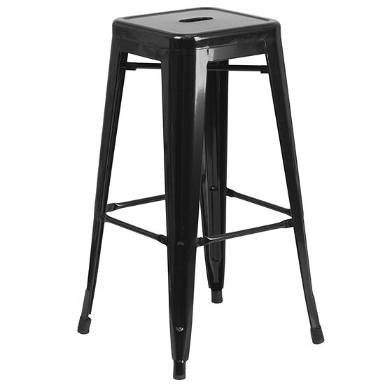 30'' High Backless Metal Indoor/Outdoor Barstool with Square Seat
