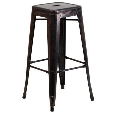 30IN Modern Industrial Backless Anitque Gold MetalIndoor/Outdoor Backless Barstool with Square Seat