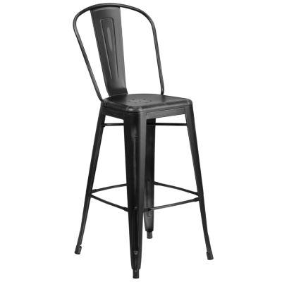 30IN Metal Indoor/Outdoor Distressed Barstool
