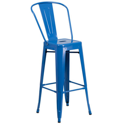 30'' High Metal Indoor/Outdoor Barstool with Back