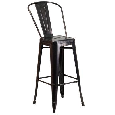 30'' High Metal Indoor/Outdoor Barstool with Back