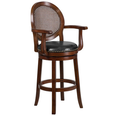 30'' High Wood Barstool with Arms and Leather Swivel Seat