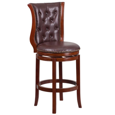30'' High Wood Barstool with Leather Swivel Seat