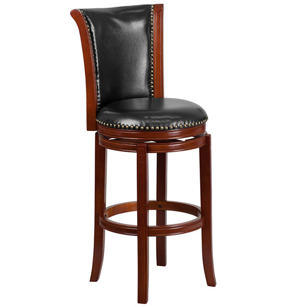 30IN Wood Barstool with Faux-Leather Swivel Seat