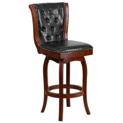 30IN Wood Barstool with Tufted Faux-Leather Swivel Seat