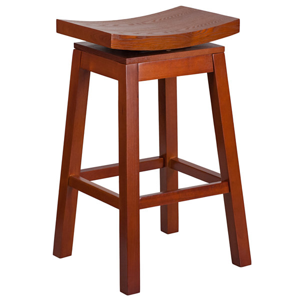 30IN Wood Saddle Seat Backless Barstool with AutoSwivel Seat Return