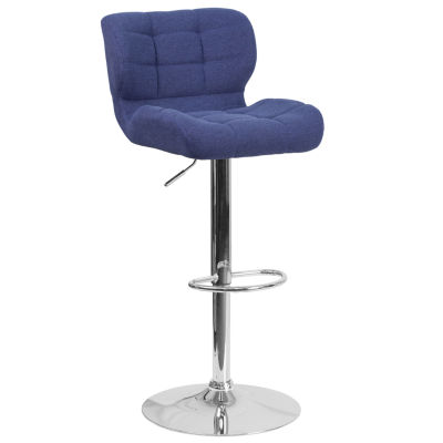 Contemporary Tufted Adjustable Height Barstool with Chrome Base
