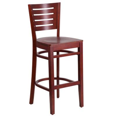 Darby Series Slat Back Wood Restaurant Barstool