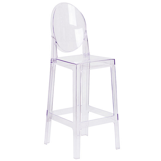 Ghost Barstool in Transparent Crystal with Oval Back
