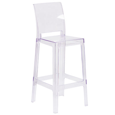 Ghost Barstool in Transparent Crystal with SquareBack