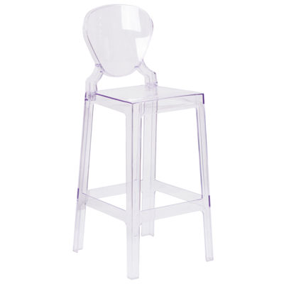 Ghost Barstool in Transparent Crystal with Tear Back