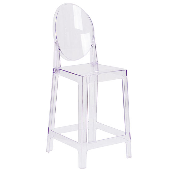 Ghost Counter Stool in Transparent Crystal with Oval Back