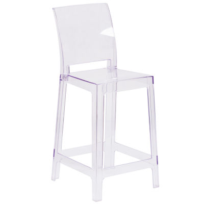 Ghost Counter Stool with Square Back in Transparent Crystal