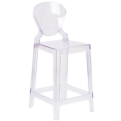 Ghost Counter Stool in Transparent Crystal with Tear Back