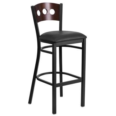HERCULES Series Black 3 Circle Back Metal Restaurant Barstool - Wood Back & Vinyl Seat