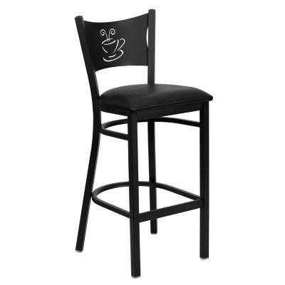 Hercules Series Black Coffee Back Metal Restaurant Barstool - Vinyl Seat