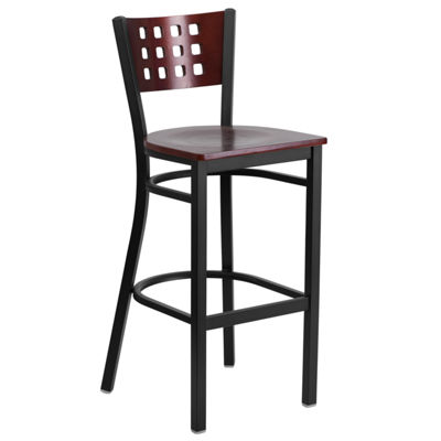 Hercules Series Black Decorative Cutout Back MetalRestaurant Barstool