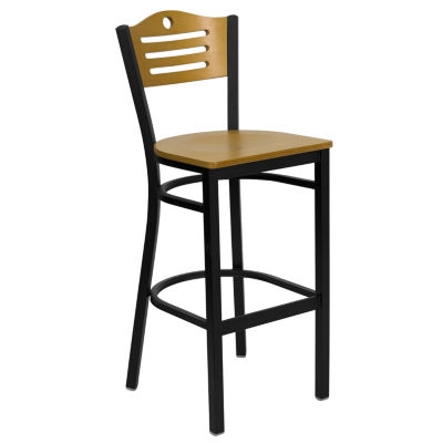 HERCULES Series Black Curved Slat Back Metal Restaurant Barstool - Wood Back & Seat