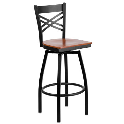 Hercules Series Black INXIN Back Swivel Metal Barstool - Wood Seat
