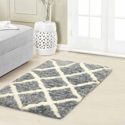 Vista Living Sophia Diamond Shag Rectangular Accent Rug