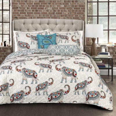 Lush Decor Hati Elephants Quilt Navy/Turquoise 5PC Set