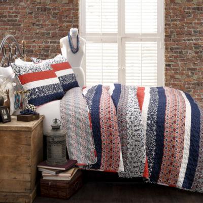 Lush Decor Boho Stripe Quilt Navy/Orange 3PC Set
