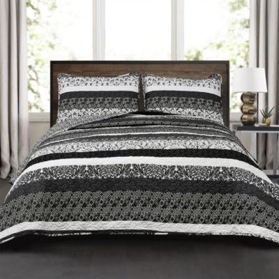 Lush Decor Boho Stripe Quilt Black/White 3PC Set