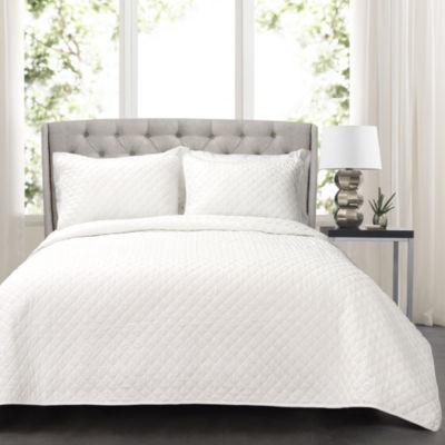 Lush Decor Ava Diamond Oversized Cotton Quilt White 3PC Set
