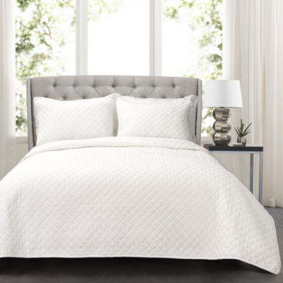 Lush Decor Ava Diamond Oversized Cotton Quilt White 3PC Set