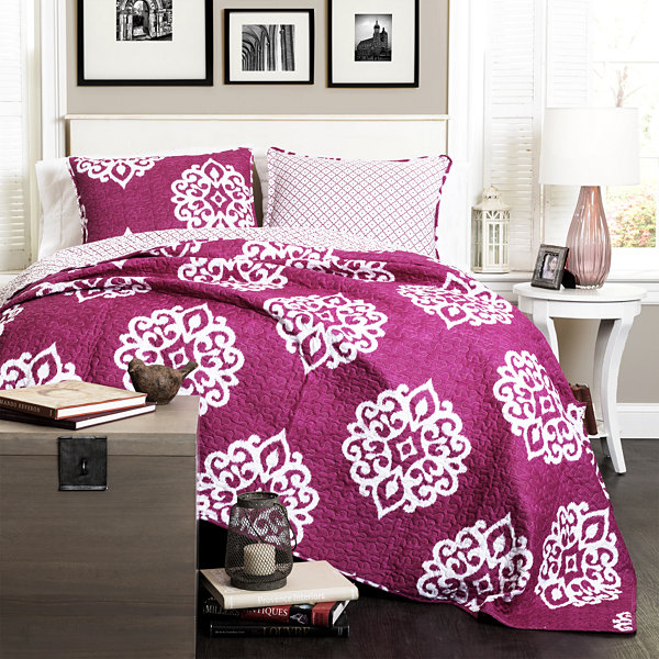 Lush Decor Sophie 3PC Fuchsia Quilt