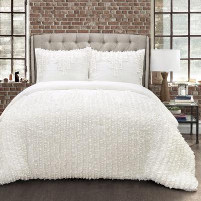 Lush Decor Ruffle Stripe Comforter White 3PC Set