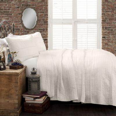 Lush Decor Pom Pom Stripe Quilt White 3PC Set