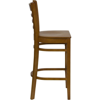 HERCULES Series Finished Ladder Back Wooden Restaurant Barstool