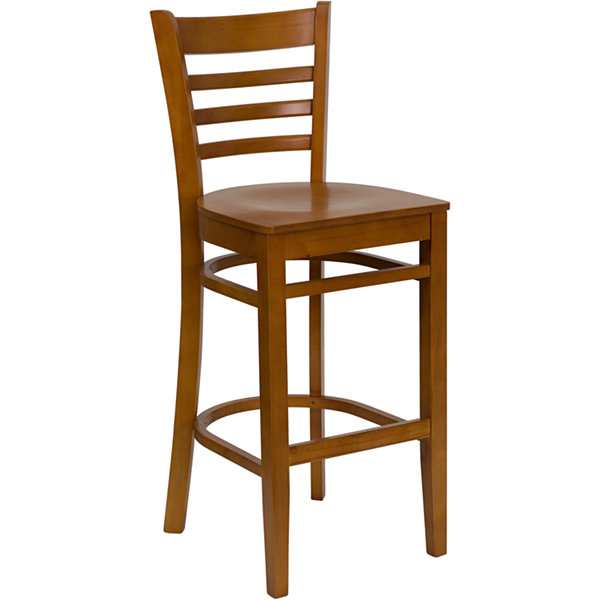 HERCULES Series Ladder Back Wood Restaurant Barstool