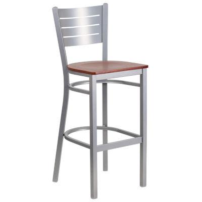 HERCULES Series Silver Slat Back Metal Restaurant Barstool - Wood Seat