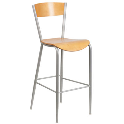 Invincible Series Silver Metal Restaurant Barstool