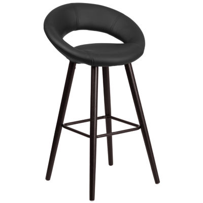 Kelsey Series 29'' High Contemporary Vinyl Barstool with Cappuccino Wood Frame