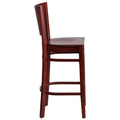 Lacey Series Solid Back Wooden Restaurant Barstool