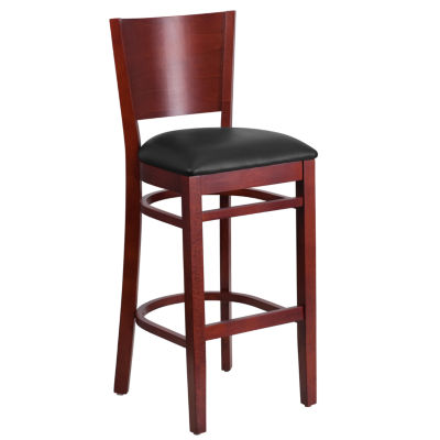 Lacey Series Solid Back Wood Restaurant Barstool -Vinyl Seat
