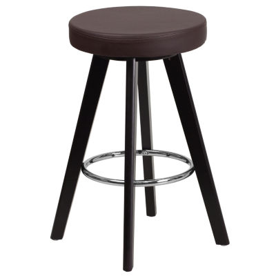 Trenton Series 24IN Contemporary Wood Backless Counter Height Barstool with Vinyl Seat
