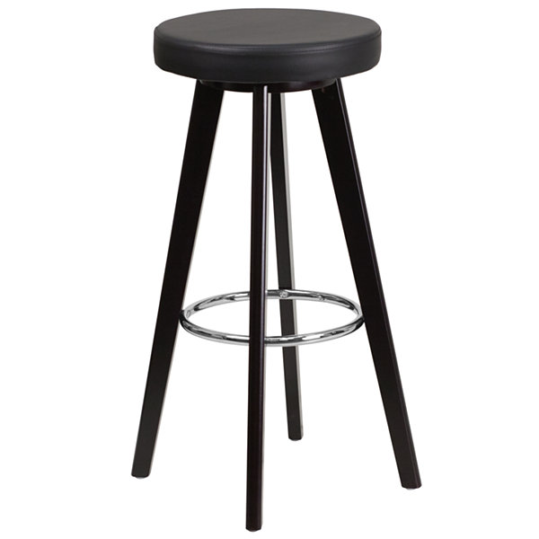 Trenton Series 29IN Contemporary Wood Backless Barstool with Vinyl Seat