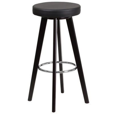 Trenton Series 29'' High Contemporary Vinyl Barstool with Cappuccino Wood Frame